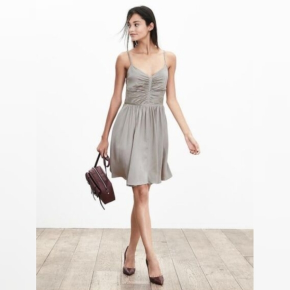 Banana Republic Dresses & Skirts - Banana Republic Taupe Shirred Silk Dress